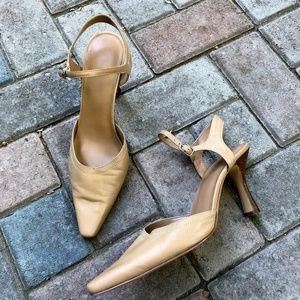 Nine West Hector nude ankle strap heels